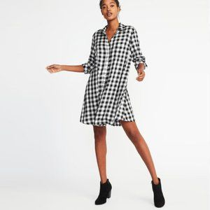 Old Navy XL-Tall Twill Black Check Shirt Dress
